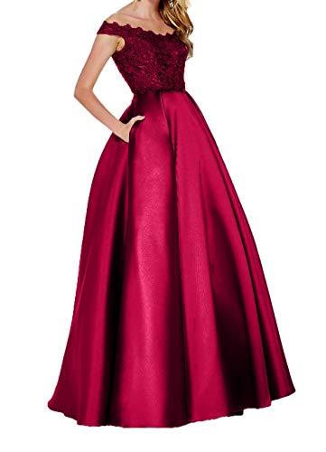 Elegant Abschlussballkleider Abendkleider Brautmutterkleider Linie Weinrot Lang Promkleider Charmant A Spitze Damen 5n1a1wxTq