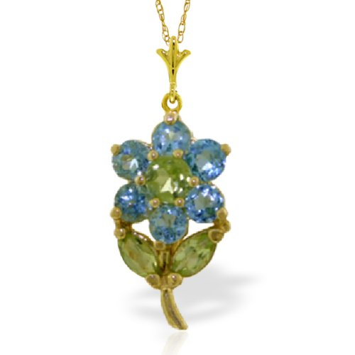 """14k Solid Gold 18"""" Necklace with Blue Topaz Flower Pendant"""
