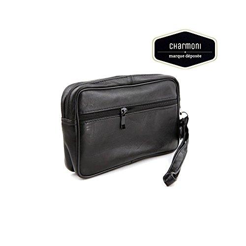 Charmoni-vacío bolsillo-Bolsa con cremallera para hombre, piel de nueve Edem negro