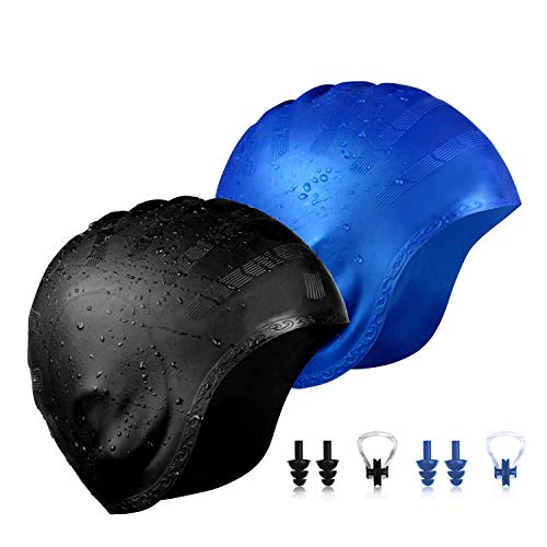 QXQY Swimming Cap for Long Hair,Silicone Swim Cap Cover Ears for Women Men with Nose Clip and Ear Plugs (Black+Blue)