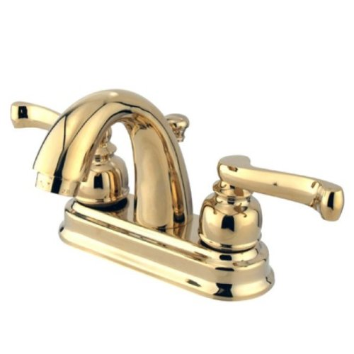 Cast Brass Lavatory Faucet (Kingston Brass KB5612FL 4-Inch Centerset Lavatory Faucet with High Rise Spout, Polished Brass)