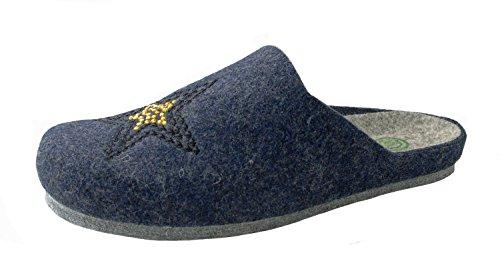 Dr. Brinkmann Damen Pantoffel 320438-5 blau, Größe 36-42,Wollfilz,für Parkettböden geeignet Blau