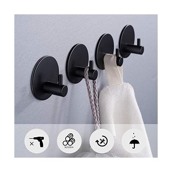 41x9oP4O1 L Aikzik Selbstklebend Handtuchhaken, Bademantelhaken Haken Wandhaken Edelstahl rostfrei Bad und Küche Handtuchhalter…