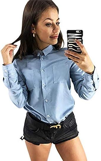 TOOGOO - Camisas - para mujer Azul azul celeste XL: Amazon.es ...
