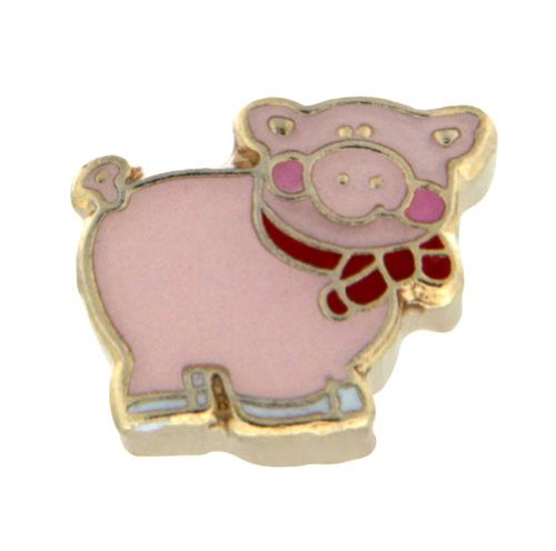 Pink Pig Charm - Pink Pig with Bow Tie Floating Locket Charm