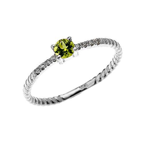 Bague Femme/ Bague De Fiançailles 14 Ct Or Blanc Solitaire Péridot Et Diamant Conception De Corde