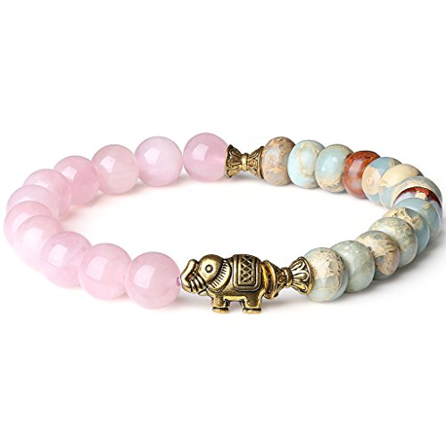 Elephant Crystal Jewelry - AmorWing Rose Quartz and Variscite Energy Bracelet Yoga Mala Reiki Healing Bracelet 6mm