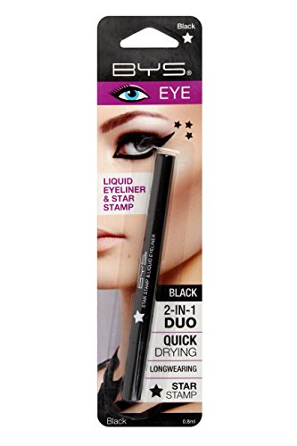 BYS Matte 2in1 Duo Liquid Eyeliner Ultrafine Tip Pen with Star Stamp Black