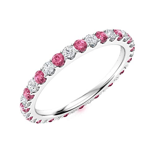 Diamondere Natural and Certified Pink Sapphire and Diamond Wedding Ring in 14K White Gold | 0.82 Carat Full Eternity Stackable Band for Women, US Size 7
