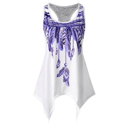 Wintialy Fashion Womens Casual Lace Panel Asymmetrical Feather Print Vest Tank Tops (Medium, Purple) (Reversible Bikini Zebra)