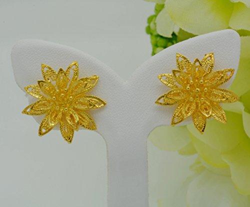 Gorgeous 22k 23k 24k Yellow Gold Plated Women Girl Stud Earrings ()
