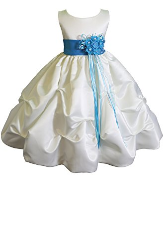 Little-Girls' Ivory/Turquoise Flower Girl Pageant Dress Sz -