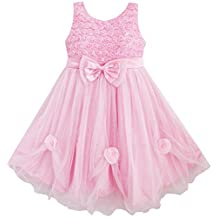 Sunny Fashion Girls Dress Pink Rose Pageant Tull Wedding
