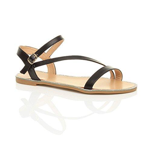 Ajvani Rhinestone Black Sandals Women Trim Size Flat Plain AFwyCA1qEr