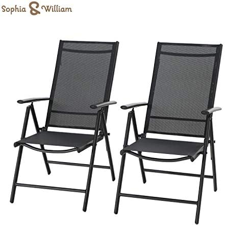 Sophia William Patio Foldable Dining Chairs Set of 2, Outdoor Folding Sling Chairs 7 Levels Adjustable, High Back Portable Chairs for Porch, Poolside, Patio, Garden, Balcony, Backyard, Black