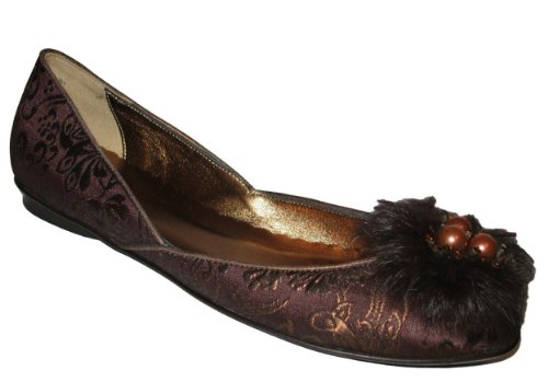 Rafe New York Womens Alex Embellished Ballerina Brocade Brown Flat Shoe 0s4ZTIx