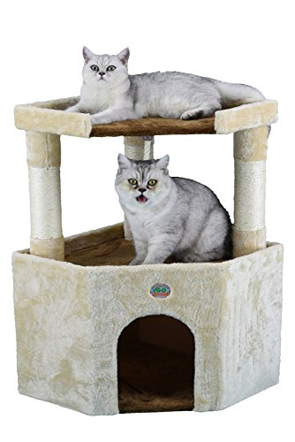 Go Pet Club Tall Beige & Brown Cat House, 32