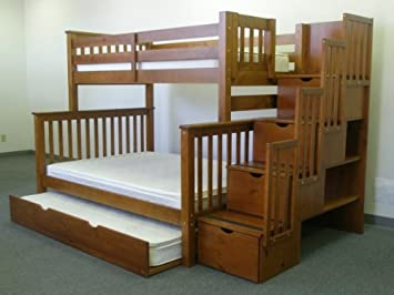 bedz king twin over full stairway bunk bed with twin trundle expresso