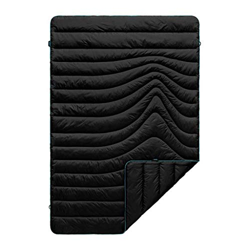 - Rumpl The Original Puffy | Outdoor Camping Blanket for Traveling, Picnics, Beach Trips, Concerts | Black/Cyan, 1-Person