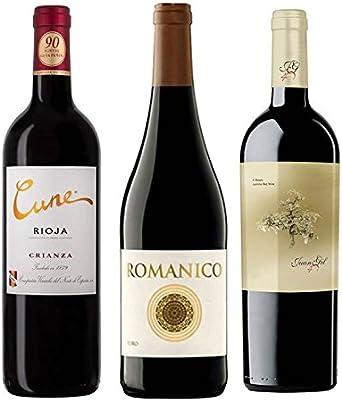 Pack Vino 90 puntos Parker por menos de 10 Euros 3 botellas. 1 Cuner Crianza, 1 Romanico y 1 Juan Gil Roble: Amazon.es: Alimentación y bebidas