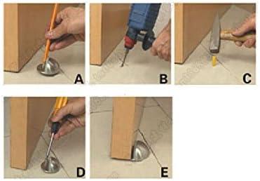Half Moon Oval Floor Door Stop-Solid Stainless Steel Door Stopper and Rubber Bumper 2 Pcs
