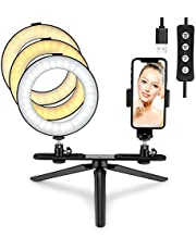 """Tenswall LED Ring Light 6"""" with Tripod Stand & Phone Holder,360° Mini Desktop LED Camera Light with 3 Light Modes & 11 Brightness Levels for Live Streaming,YouTube Video Shooting & Makeup Selfie"""