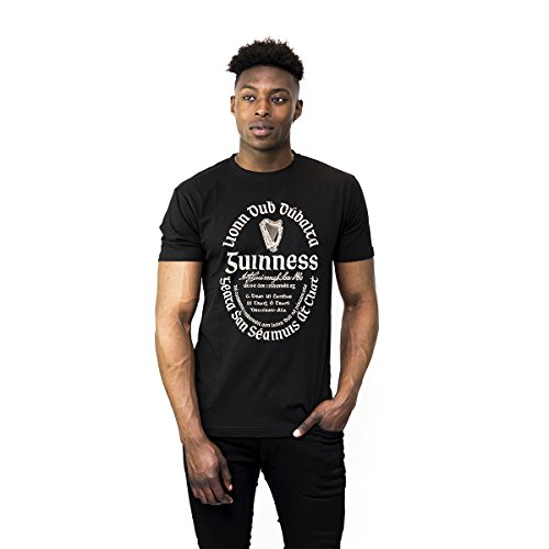 Guinness T Shirt - Cotton Black Graphic Short Sleeve, X-Large