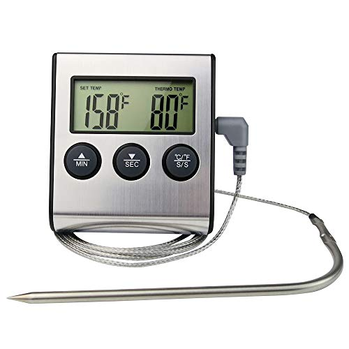 Digital Meat Thermometer Instant Read for Food Meat Grill Smoker BBQ Oven Cooking Kitichen Clock Timer Stainless Steel Probe ()
