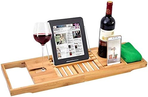 本とワインホルダー付き収納バスケット拡張竹バスタブキャディートレイ木製バーストレイ