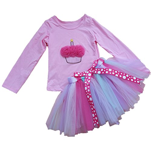 AISHIONY Kid Girl 3rd Birthday Tutu Princess Dress Shirt Rainbow Skirt Outfit -