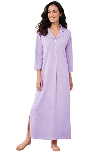 PajamaGram Womens Nightgowns Ultra Soft - Cotton Pin Dot, Lavender, XS, 2-4 ()
