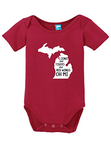 Lion and Tigers And Red Wings Oh Mi Printed Infant Bodysuit Baby Romper Red 0-3... - Red Wings Girls Shirt