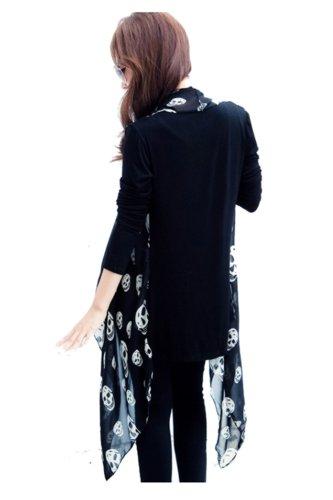 CA Fashion Women's Skull Print Open Cardigan Asymmetric Bloues Top 30%OFF