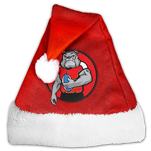 Luxury Christmas Santa Hat Football Player Bulldog Plush