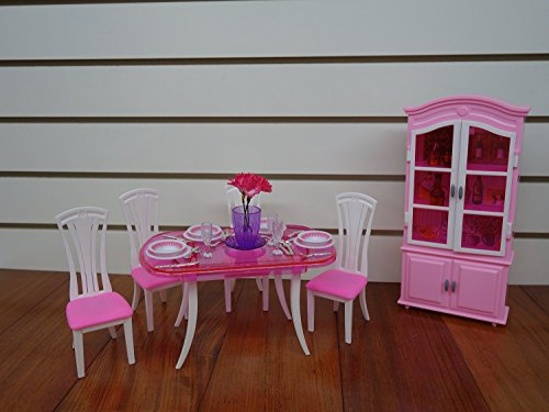 Chair Cabinet - Barbie Size Dollhouse Furniture- Dinning Room with 4 Chairs & Cabinet
