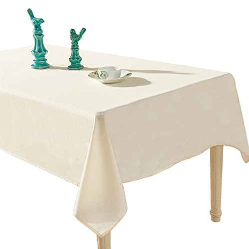- YEMYHOM Spill-Proof Fabric Rectangle Tablecloth for Dining Room, Wedding and Party (60 x 84, Off-White)