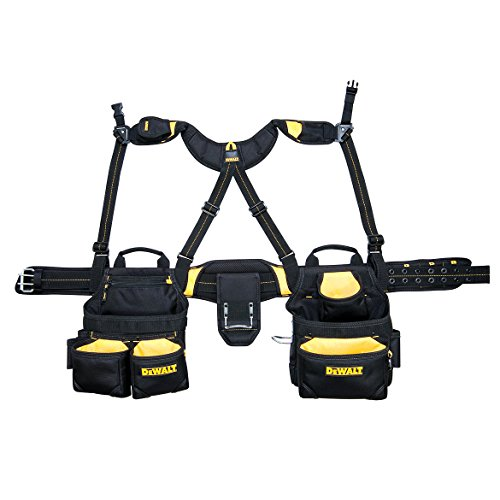 DEWALT DG5617 20-Pocket Pro Framer's Combo Apron Tool Belt and Yoke-style Suspenders (Best Tool Belt For Roofing)
