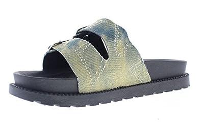 Gold Toe Women's Trixie Double Buckle Platform Sandal Shoes,Casual Slip On Open Toe Flip-Flop Flat Slides