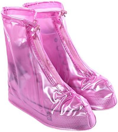 ジッパー付き防水靴カバー、再利用可能な折り畳み式ではないスリップ雨靴カバー、子供、男性と女性のための靴プロテクターオーバーシューズ雨雨靴 (Color : Pink, Size : XL)