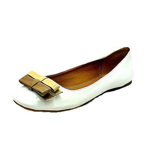 Zapatos de las señoras / bombas planas con arco pequeño marrón al frente White