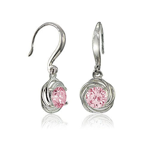 Light Love Knot - Sterling Silver Light Pink Cubic Zirconia Love Knot Dangle Earrings
