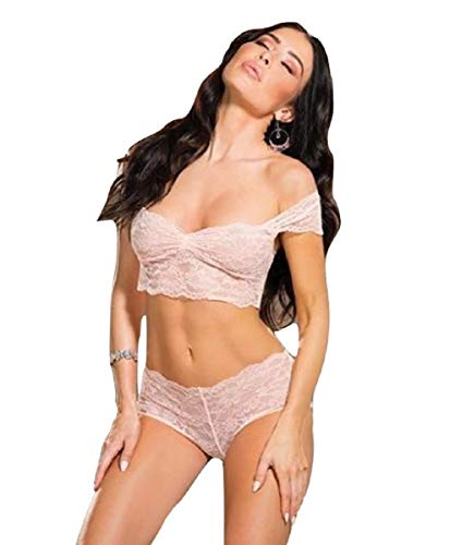 (Shirley of Hollywood Floral Patterned Stretch Lace Off The Shoulder Crop Top & Boy Short Peach (Large))
