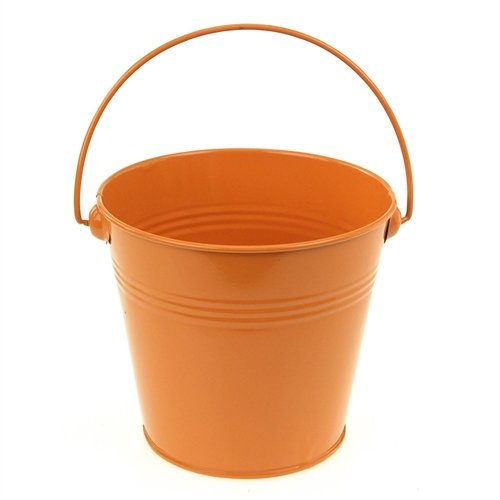 (Homeford Firefly Imports Metal Pail Buckets Party Favor, 5-Inch, Orange,)