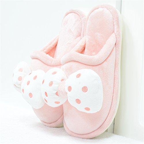 damas Las zapatillas cachemir tejidos casa LaxBa de de Rosa algodón antideslizamiento 51x6W7w