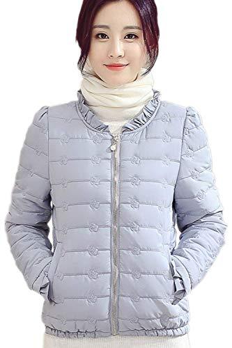 Cappotto Invernali Autunno Abbigliamento Volant Piumini A Trapuntata Chiusura Giacca Manica Fashion Giacche Blu Donna Colore Casual Coat Tasche Cerniera Con Vintage Lunga Puro Etp1pSwq