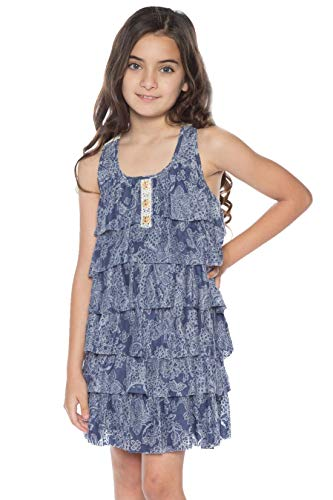 (Truly Me, Big Girls' Sleeveless A-Line Knit Dress with Cascading Ruffle Detail and Crochet Lace Embellishment, Size 7-16 (Navy Multi, 7))