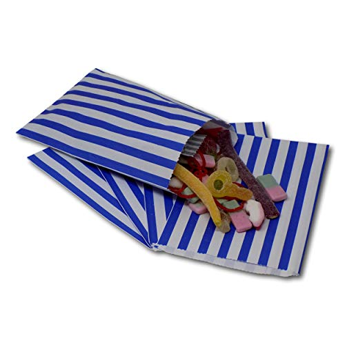 EPOSGEAR® 5″ x 7″ Premium 45gsm Kraft Paper Coloured Candy Stripe Sweet Paper Party Bags – Ideal for Gift Shops, Wedding Favours, Candy Carts, Buffets etc (Blue, 100 Bags)