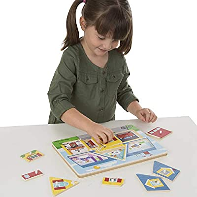 Melissa & Doug Sound Puzzle Around The House & Around The Fire Station Puzzle (8 Piece): Toys & Games