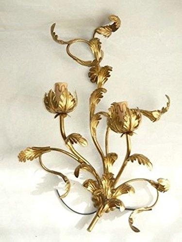 Wandleuchte aus Schmiedeeisen gold Blatt Akanthus A 2flammig für Wohnzimmer Eingang