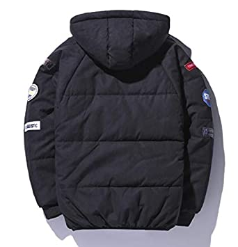 Hmarkt Men Hooded with Patches Solid Quilted Padded Winter Letters Print Thicken Down Puffer Jacket